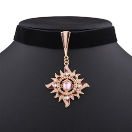 Ericdress Gold Color Sun Pendant Choker Necklace