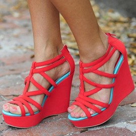 Ericdress Color Block Platform Wedge Sandals