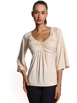Ericdress Slim Three-Quarter Flare Sleeve T-shirt