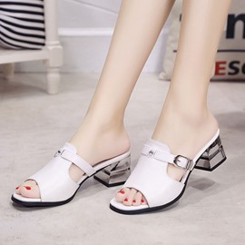 Ericdress Concise PU Peep Toe Mules Shoes