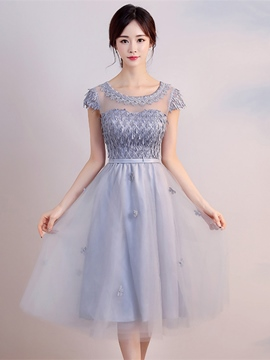 Ericdress A Line Cap Sleeve Flower Applique Short Homecoming Dress
