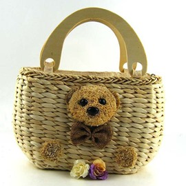 Ericdress Teddy Bear Adornment Knitted Tote Bag