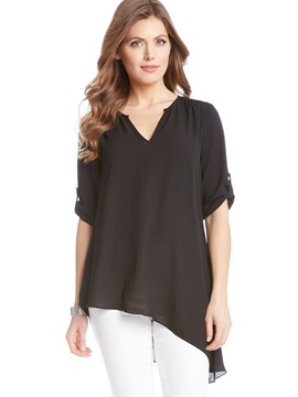 Ericdress Asymmetric V-Neck Mid-Length Blouse