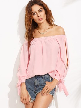 Ericdress Bowknot Plain Off-Shoulder Long Sleeve Blouse