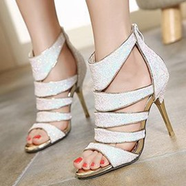 Ericdress Roman Sequins Peep Toe Stiletto Sandals