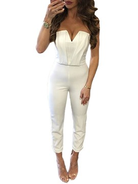 Ericdress Backless Pure Color Jumpsuits Pants
