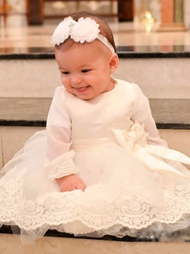 Ericdress Lace Tulle Long Sleeves Christening Gown with Headband