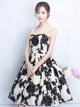 Ericdress A Line Spaghetti Straps Lace KNee Length Homecoming Dress