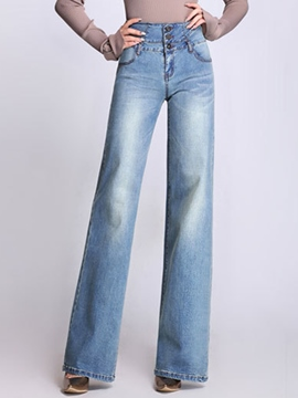 Ericdress High-Waist Pocket Wide Legs Denim Pants