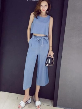 Ericdress Lace-Up Denim Women Suits