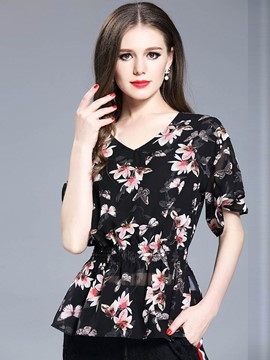 Ericdress Slim V-Neck Print Chiffon Blouse