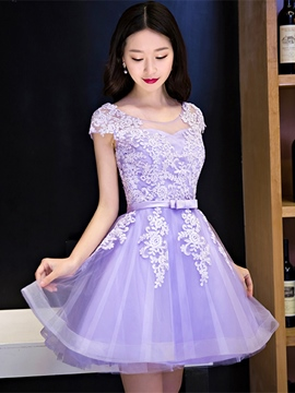 ErIcdress A Line Cap Sleeve Applique Zipper-Up Homecoming Dress