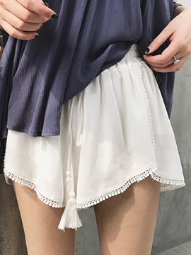 Ericdress High-Waist Lace-Up Pure Color Shorts Pants