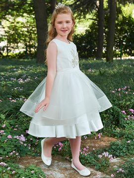 Ericdress Scoop Neck Appliques A Line Knee Length Flower Girl Dress