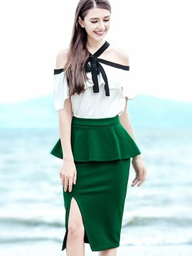 Ericdress Slash Neck Ruffles Color Block Women Suits