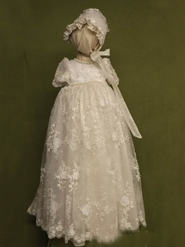 Ericdress Lace Bonnet Beading Scoop Baptism Christening Gown for Girls