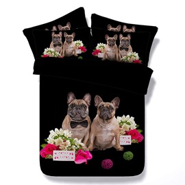 Pug Dog Couple and Pink Rose Printed 3D 4-Piece Black Bedding Sets