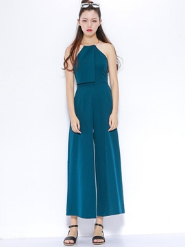 Ericdress Patchwork Backless Wide Legs Jumpsuits Pants