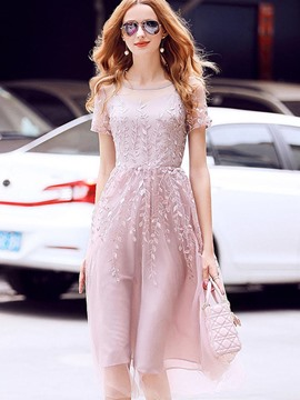 Ericdress Mesh Embroidery Expansion A Line Dress