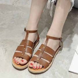 Ericdress Vintage Kintting Patchwork Flat Sandals