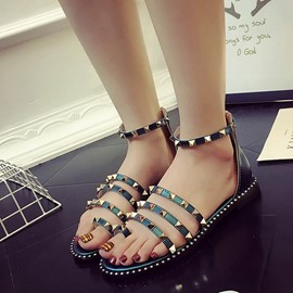 Ericdress Roman Rivets Decorated Toe Ring Flat Sandals