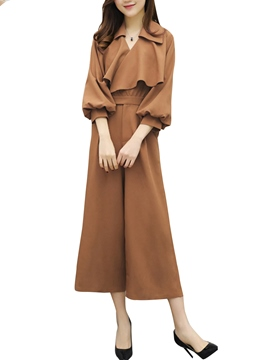 Ericdress Mid-Calf Pleated Jumpsuits Pants