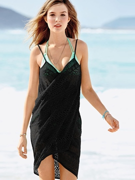 Ericdress Plain Jacquard Backless Beach Dresses