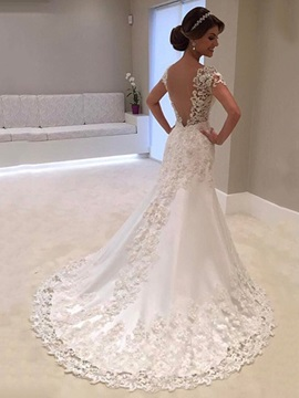 Ericdress Mermaid Backless Appliques Tulle Wedding Dress