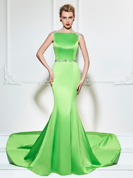 Ericdress Cap Sleeve Beaded Crystal Back Mermaid Evening Dress With Train