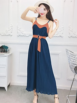 Ericdress Patchwork Belt Jumpsuits Pants