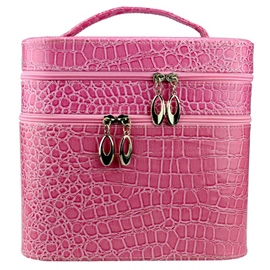 Ericdress Croco-Embossed Double-Deck Cosmetic Bag