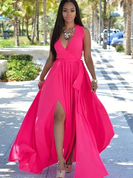 Ericdress Flowy Chiffon Deep V-Neck Split Maxi Dress