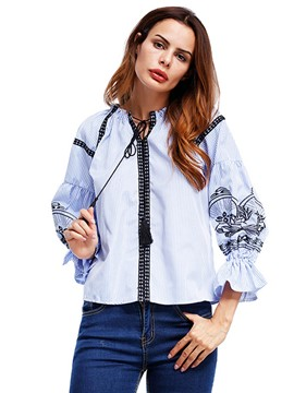Ericdress Stripe Embroidery Bell Sleeve Lace-Up Blouse