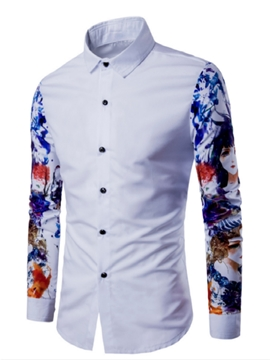 Ericdress Patched Print Long Sleeve Men's Shirt