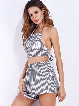 Ericdress Backless Stripe Women's Two Piece Set