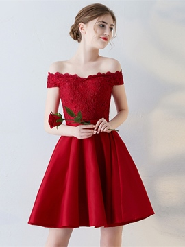 Ericdress A-Line Off The Shoulder Appliques Mini Homecoming Dress With Bowknot Sashes