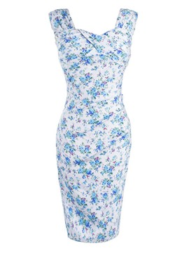 Ericdress Floral Print Backless Sleeveless Bodycon Dress