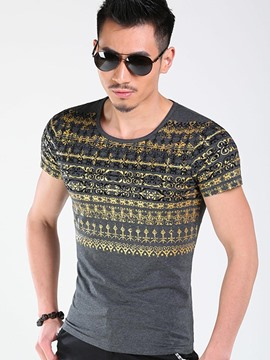 Ericdress Print Slim Crew Neck Men's T-Shirt