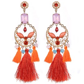 Ericdress Bohemia Style Colorful Beads Tassel Earring