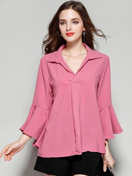 Ericdress Flare Sleeve Chiffon Soild Color Pullover Blouse