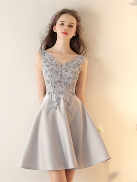 Ericdress Short A Line Applique Beaded Homecoming Dress