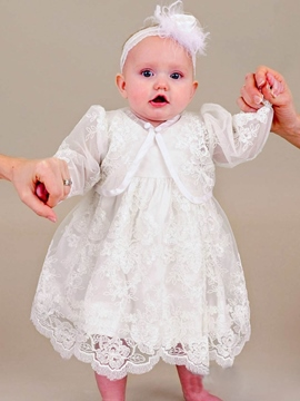 Ericdress 2 Pieces Lace Jacket Christening Gown for Girls with Headband