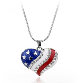 Ericdress Chic American National Flag Pendant Necklace