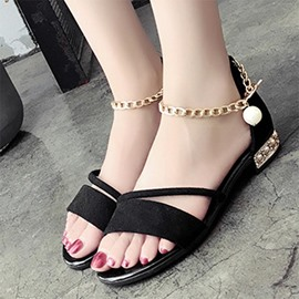 Ericdress Concise Metal Chain Flat Sandals