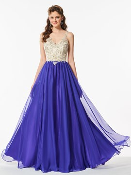 Ericdress A Line Straps Applique Contrast Color Long Prom Dress
