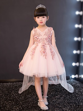 Ericdress V Neck Appliques Ball Gown Short Flower Girl Party Dress
