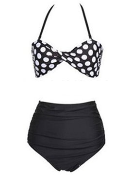 Ericdress Vintage Polka Dots Pleated Tankini Set