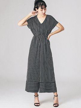 Ericdress High-Waist Stripe Jumpsuits Pants