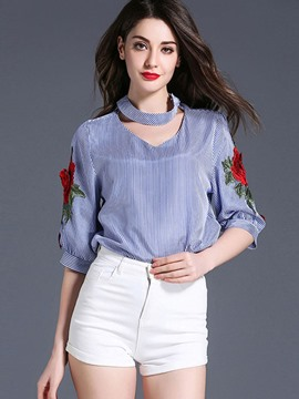 Ericdress Embroidery Three-Quarter Halter Floral Blouse
