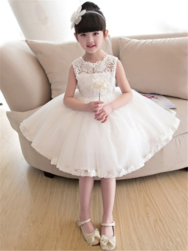 Ericdress Bowknot Lace Knee Length Flower Girl Dress